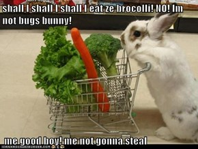 shall I shall I shall I eat ze brocolli! NO! Im not bugs bunny!   me good boy! me not gonna steal