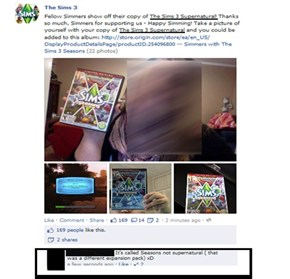 Sims 3 wrote the name of the wrong product on their Facebook account