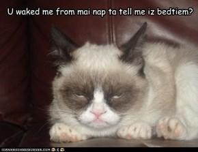 U waked me from mai nap ta tell me iz bedtiem?
