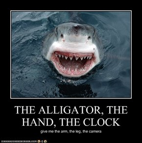 THE ALLIGATOR, THE HAND, THE CLOCK