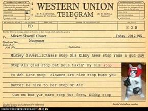 Telegram! Telegram for Mr. Skwerlchaser!