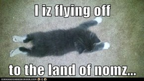 I iz flying off  to the land of nomz...