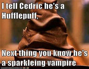 I tell Cedric he's a Hufflepuff,  Next thing you know he's a sparkleing vampire