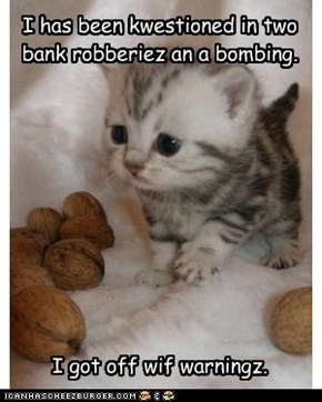I has been kwestioned in two bank robberiez an a bombing.            I got off wif warningz.