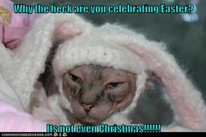 Why the heck are you celebrating Easter?   Its not even Christmas!!!!!!