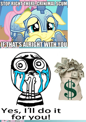 No wonder Fluttershy is best crime fighter.