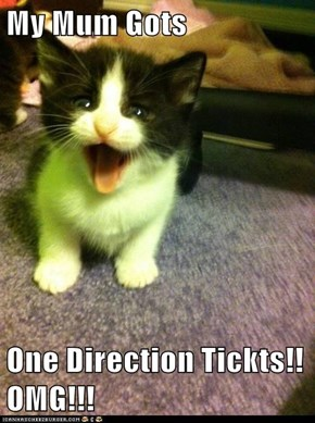 My Mum Gots  One Direction Tickts!! OMG!!!