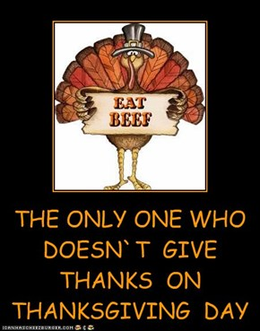 THE ONLY ONE WHO DOESN`T  GIVE THANKS  ON  THANKSGIVING  DAY