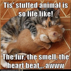 Tis' stuffed animal is so life like!  The fur, the smell, the heart beat... awww