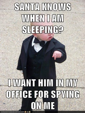 SANTA KNOWS WHEN I AM SLEEPING?  I WANT HIM IN MY OFFICE FOR SPYING ON ME