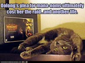 Oolong's plea for mana-noms ultimately cost her the raid...and another life.