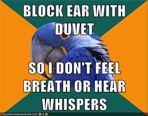 BLOCK EAR WITH DUVET  SO I DON'T FEEL BREATH OR HEAR WHISPERS