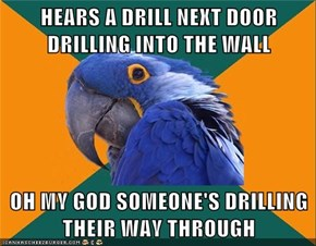 HEARS A DRILL NEXT DOOR DRILLING INTO THE WALL  OH MY GOD SOMEONE'S DRILLING THEIR WAY THROUGH