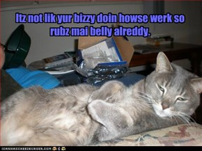 Itz not lik yur bizzy doin howse werk so rubz mai belly alreddy.