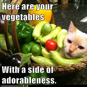 Here are your vegetables  With a side of adorableness.