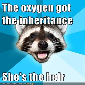 The oxygen got the inheritance  She's the heir