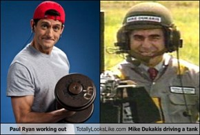 Paul Ryan working out Totally Looks Like Mike Dukakis driving a tank