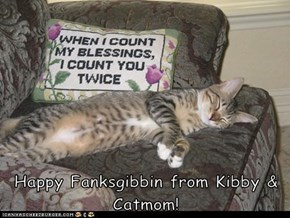 Happy Fanksgibbin from Kibby & Catmom!