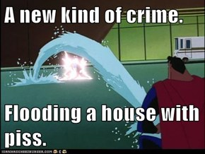 A new kind of crime.  Flooding a house with piss.