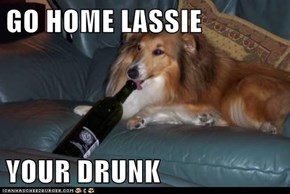 GO HOME LASSIE  YOUR DRUNK