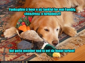 Fanksgibin iz heer n aiz fankful fur mai Fambly, cheezfrenz, n furbabies!!!