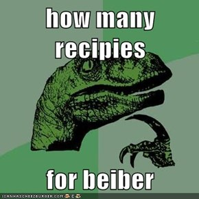 how many recipies  for beiber