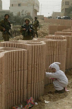 Palestinian Child in Bunny Costume Hides from IDF Soldiers