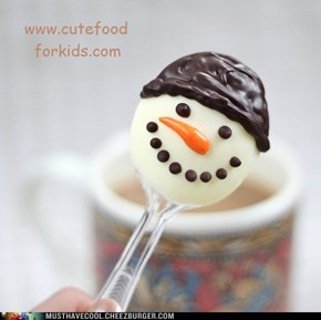 Snowman on spoon