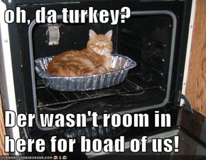 oh, da turkey?  Der wasn't room in here for boad of us!