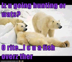 Iz u going hunting or wats?  O rite...I c u a fish overz ther