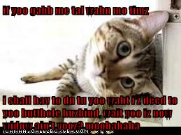 if yoo gahb me tal wahn mo timz  i shall hav to du tu yoo waht i'z deed to yoo butthole huzbind, wait yoo iz now widow ain't yooz? moohahaha