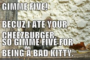 GIMME FIVE! BECUZ I ATE YOUR CHEEZBURGER. SO GIMME FIVE FOR BEING A BAD KITTY.