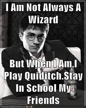 I Am Not Always A Wizard  But When I Am,I Play Quiditch.Stay In School My Friends