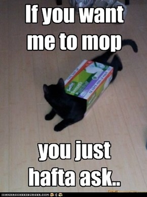 If you want  me to mop    you just  hafta ask..