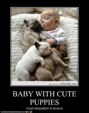 BABY WITH CUTE PUPPIES