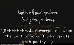 (REEEEEEEEALLY worries me when the air traffic controller spouts Goth poetry...)