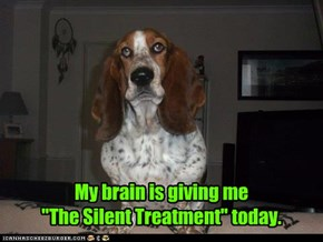 "My brain is giving me  ""The Silent Treatment"" today."