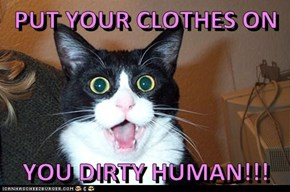 PUT YOUR CLOTHES ON  YOU DIRTY HUMAN!!!