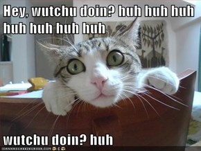 Hey, wutchu doin? huh huh huh huh huh huh huh  wutchu doin? huh