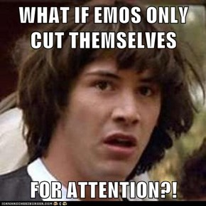 WHAT IF EMOS ONLY CUT THEMSELVES  FOR ATTENTION?!