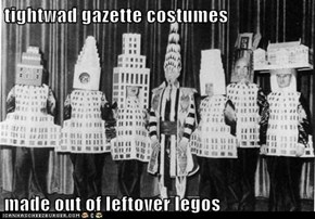 tightwad gazette costumes  made out of leftover legos