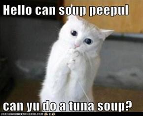 Hello can soup peepul  can yu do a tuna soup?