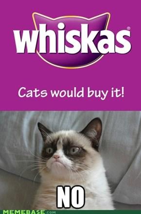 Grumpy cat on whiskas