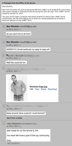 "NYU Student Accidentally E-mails 40,000 Students with ""Reply All,"" A Wildfire of Lulz Ensues"