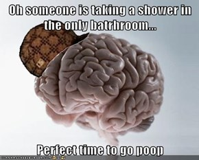 Oh someone is taking a shower in the only batrhroom...  Perfect time to go poop