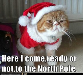 Here I come,ready or not,to the North Pole.