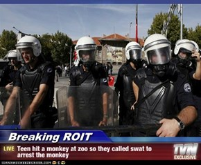 Breaking ROIT - Teen hit a monkey at zoo so they called swat to arrest the monkey
