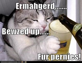 Ermahgerd....... Bewzed up...... Fur pernies!