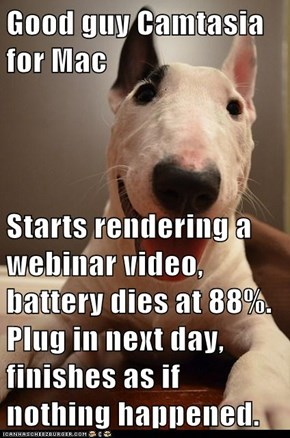 Good guy Camtasia for Mac  Starts rendering a webinar video, battery dies at 88%. Plug in next day, finishes as if nothing happened.
