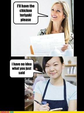 Asian Waitress is Asian